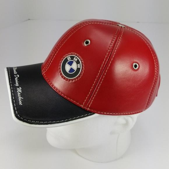 🚘BMW ALL SEASON CLASSIC RED LEATHER BASEBALL HAT 2b8c29eb8e4
